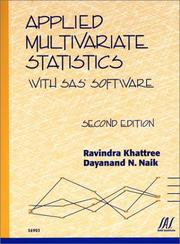 Cover of: Applied Multivariate Statistics With SAS Software | SAS Publishing