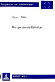 Cover of: Die operationale Definition
