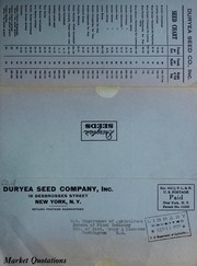 Cover of: Quotations subject to prior sale and market changes | Duryea Seed Company, Inc