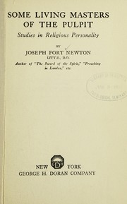 Cover of: Some living masters of the pulpit | Joseph Fort Newton