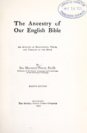 Cover of: The ancestry of our English Bible | Ira Maurice Price
