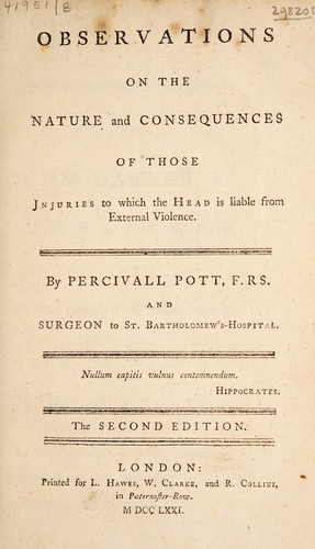 Observations on the nature and consequences of those injuries to which the head is liable from external violence by Percivall Pott