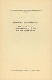 Cover of: Bibliographie bordelaise
