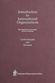 Cover of: Introduction to international organizations |