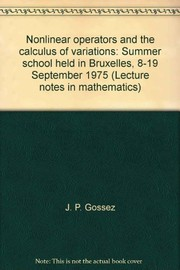 Cover of: Nonlinear operators and the calculus of variations |