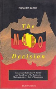 Cover of: The Mabo decision | Australia. High Court.