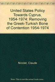 Cover of: United States policy towards Cyprus, 1954-1974