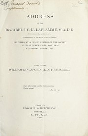 Cover of: Address of the Rev. Abbé J.C.K. Laflamme ...,vice president of the Roya Society of Canada, delivered at a public meeting of the society held at Queen