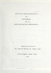Cover of: Certain descendants of Jacobus and Ann McCarthy Moroney, Sr | Victor B. Gilman