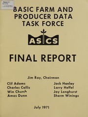 Cover of: Final report [of the] Basic Farm and Producer Data Task Force | Jim L. Ray
