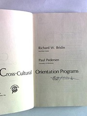 Cover of: Cross-cultural orientation programs
