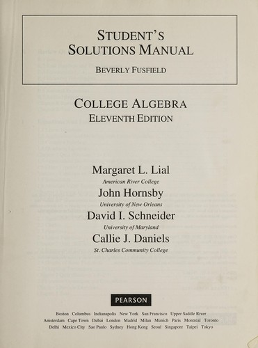 Student's Solutions Manual College Algebra by Beverly Fusfield