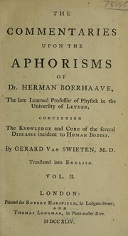Cover of: Commentaria in Hermanni Boerhaave Aphorismos