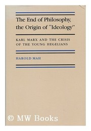 "Cover of: The end of philosophy, the origin of ""ideology"""