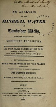 Cover of: An analysis of the mineral water of Tunbridge Wells, with some account of its medicinal properties
