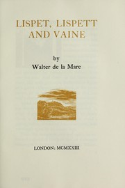 Cover of: Lispet, Lispett and Vaine