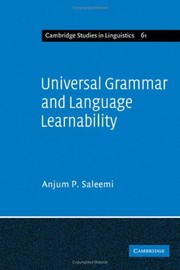 Cover of: Universal Grammar and language learnability | Anjum P. Saleemi