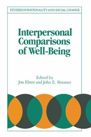 Cover of: Interpersonal Comparisons of Well-being