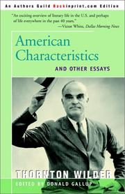 Cover of: American Characteristics: And Other Essays