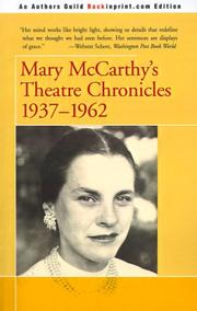 Cover of: Mary McCarthy's Theatre Chronicles