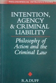 Cover of: Intention, agency, and criminal liability