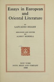 Cover of: Essays in European and oriental literature | Lafcadio Hearn