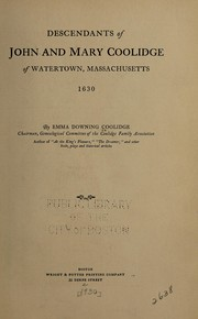 Cover of: Descendants of John and Mary Coolidge of Watertown, Massachusetts, 1630 | Emma Downing Coolidge