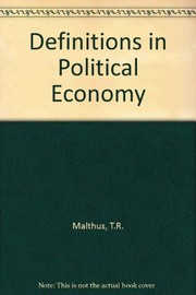 Cover of: Definitions in political economy