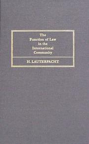 Cover of: The function of law in the international community