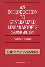 An introduction to generalized linear models by Annette J. Dobson