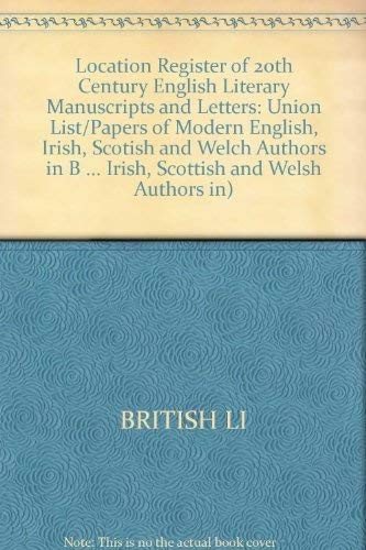 Location register of twentieth-century English literary manuscripts and letters by
