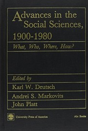 Cover of: Advances in the social sciences, 1900-1980 |