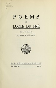 Cover of: Poems of Lucile Du Pré | Lucile Du PreМЃ
