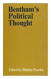 Cover of: Bentham's political thought: edited by Bhikhu Parekh.