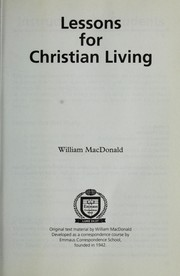 Cover of: Lessons For Christian Living |