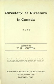 Cover of: Directory of directors in Canada, 1912 |