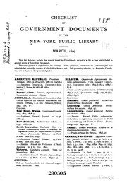 Cover of: Checklist of Government Documents in the New York Public Library: March, 1899