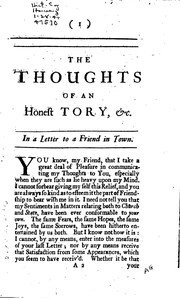 Cover of: The Thoughts of an Honest Tory: Upon the Present Proceedings of that Party ...