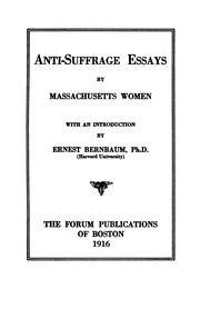Cover of: Anti-suffrage essays |