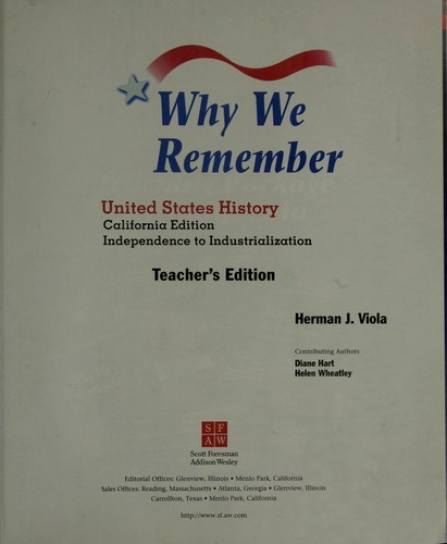 Why We Remember United States History American Revolution to 1914 (Teacher's Ed.) by