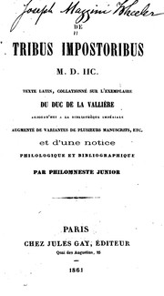 Cover of: De tribus impostoribus, M.D.IIC