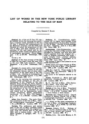 Cover of: List of Works Relating to the Isle of Man
