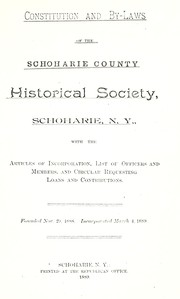 Cover of: Constitution and by-laws of the Schoharie County Historical Society, Schoharie, N.Y. |