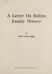 Cover of: Letter on Robins family history | Sidney Swaim Robins