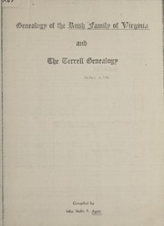 Cover of: Genealogy of the Rush family of Virginia and the Terrell genealogy
