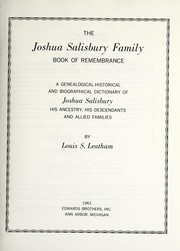 Cover of: The Joshua Salisbury family book of remembrance | Louis Salisbury Leatham