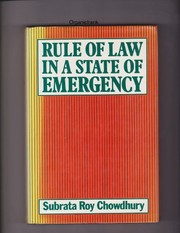Cover of: Rule of law in a state of emergency | Subrata Roy Chowdhury