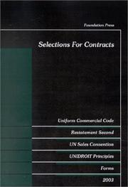 Cover of: Selections for contracts | E. Allan Farnsworth, William Franklin Young
