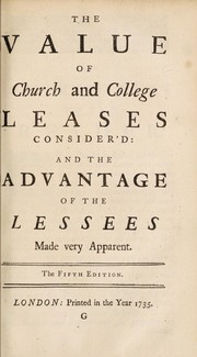 Cover of: Tables for renewing and purchasing of the leases of cathedral-churches and colleges | George Mabbut