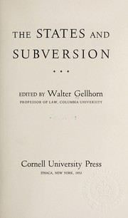 Cover of: The States and subversion | Walter Gellhorn